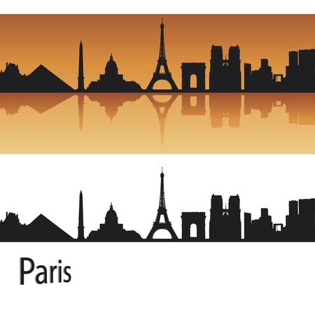 panoramic business: Paris skyline in orange background in editable vector file