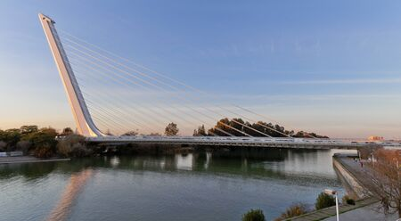 tensor: Alamillo bridge over Guadalquivir river in Seville from Santiago Calatrava Architect
