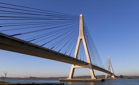 bridge construction: Bridge over the Guadiana River in Ayamonte