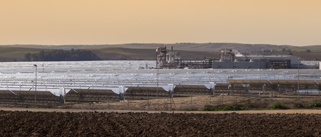 concentrating: power station of solar parabolic energy near Seville, Andalusia, Spain Stock Photo