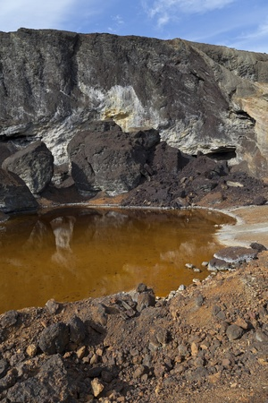 pyrite: acidic waters in pyrite smelting landfill in Riotinto, Spain