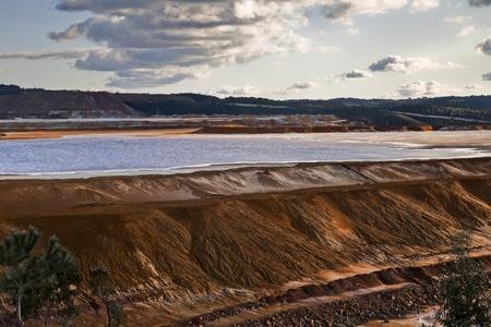 gold mine: Dam copper mine waste in Riotinto, Spain