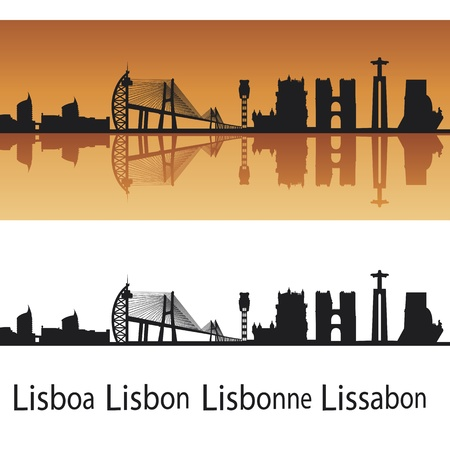 Lisbon skyline in orange background in editable  file Stock Vector - 12480554