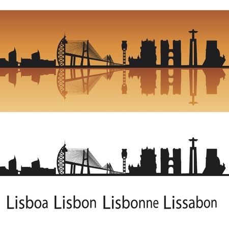 lisboa: Lisbon skyline in orange background in editable  file