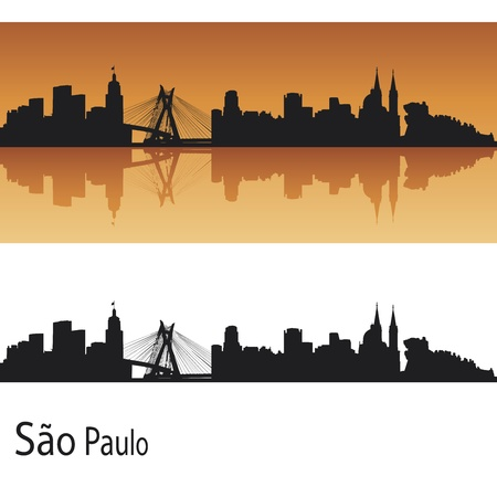 Sao Paulo skyline in orange background in editable file