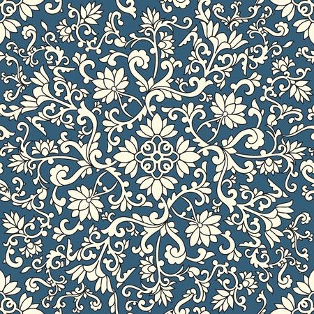 파란색 배경에 원활한 패턴 중국과 흰색 요소