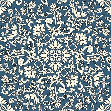 Seamless pattern chinese and white elements in blue background Vector