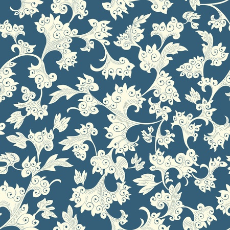 Seamless pattern chinese and white elements in blue background Stock Vector - 12732326