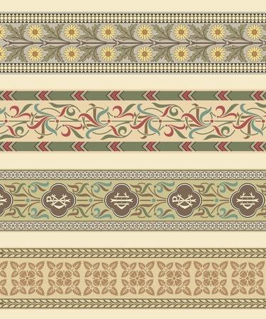 Set of four decorative borders ornamental in editable vector file Vector