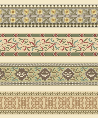 Set of four decorative borders ornamental in editable vector file Vector