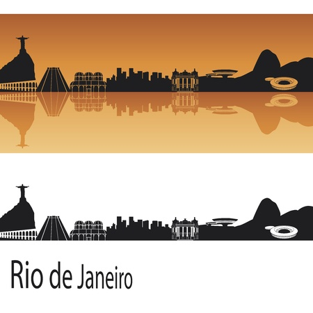 horizon reflection: Rio de Janeiro skyline in orange background in editable vector file