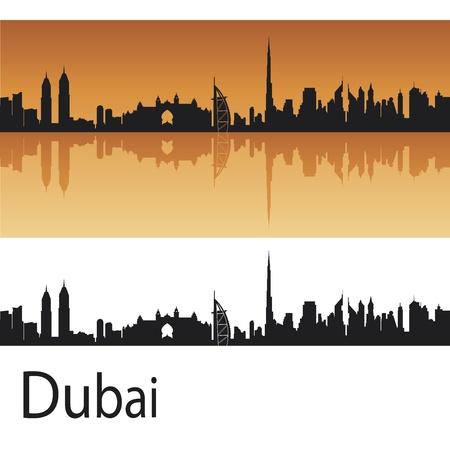 the emirates: Horizonte de Dubai en el fondo de color naranja en el archivo vectorial editable