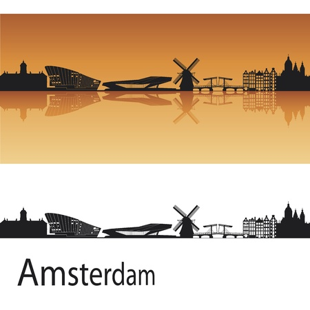 Amsterdam skyline in orange background in editable vector file Vector