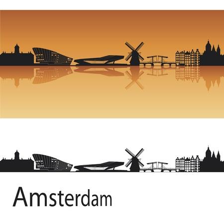 olanda: Amsterdam skyline in sfondo arancione in file vettoriali modificabili