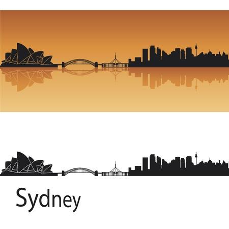 australie landschap: Sydney skyline in oranje achtergrond in bewerkbare vector-bestand Stock Illustratie