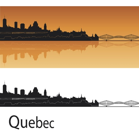 quebec: Quebec skyline in orange background in editable vector file