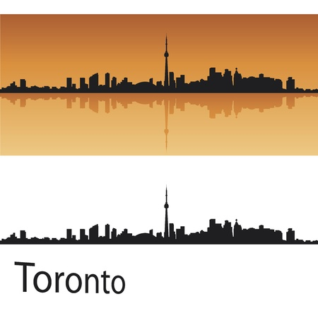 Toronto skyline in orange background in editable vector file Vector