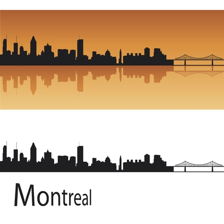 Montreal skyline in orange background in editable vector file Vector