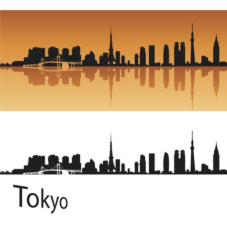 Tokyo skyline in orange background in editable vector file Vector