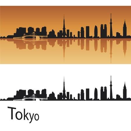 Tokyo skyline in oranje achtergrond in bewerkbare vector-bestand