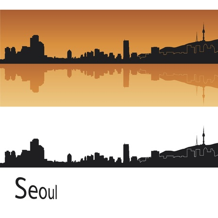 Seoul skyline in orange background in editable vector file Vector