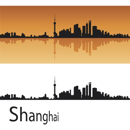 Shanghai skyline in orange background in editable vector file Vector
