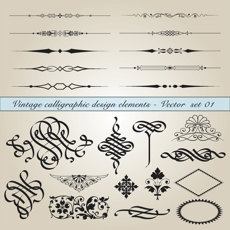 Set of vintage calligraphic design elements in editable vector file