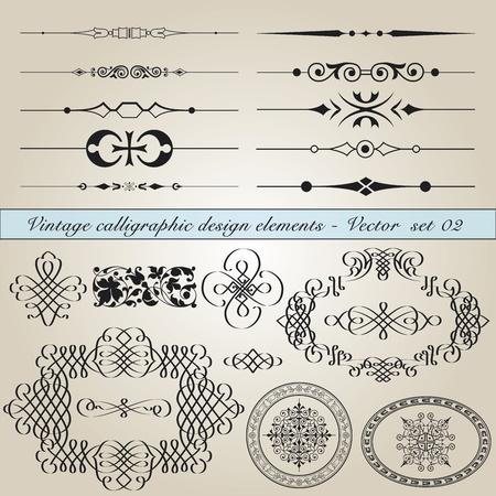 Conjunto de elementos de diseño clásicos de caligrafía en el archivo vectorial editable Ilustración de vector