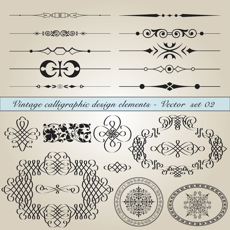 flourishes: Set of vintage calligraphic design elements in editable vector file