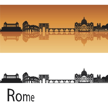 panoramic view: Rome skyline in orange background in editable vector file