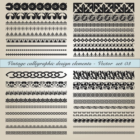 scroll border: Set of vintage calligraphic design elements in editable vector file