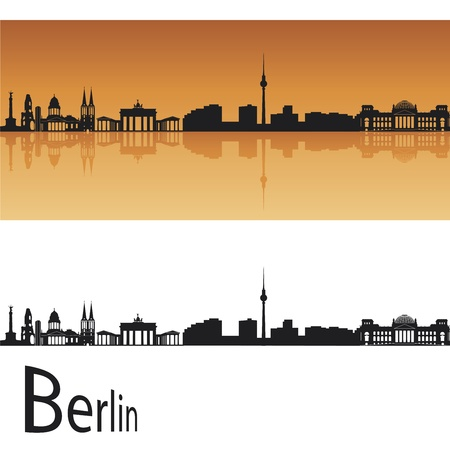 panoramic view: Berlin skyline in orange background in editable vector file Illustration