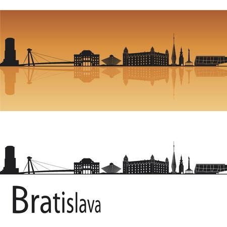 Bratislava skyline in orange background in editable vector file Stock Vector - 13496928