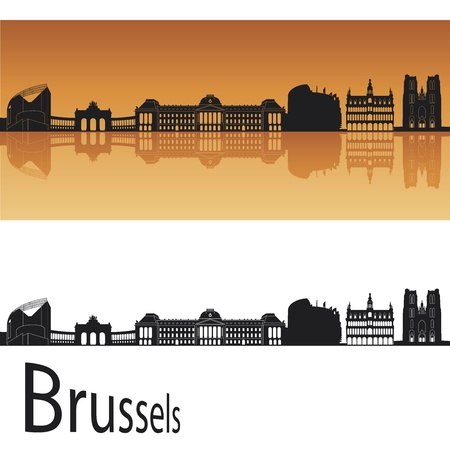 Brussels skyline in orange background in editable vector file Vector