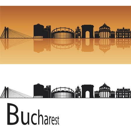 romania: Bucharest skyline in orange background in editable vector file Illustration