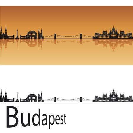 Budapest horizonte en el fondo de color naranja en el archivo vectorial editable Ilustración de vector