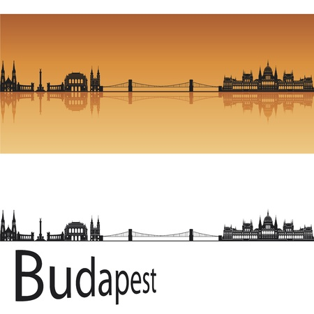 Budapest skyline in orange background in editable vector file