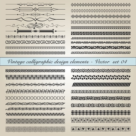 classic tattoo: Set of vintage calligraphic design elements in editable vector file