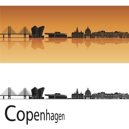 copenhagen: Copenhagen skyline in orange background in editable