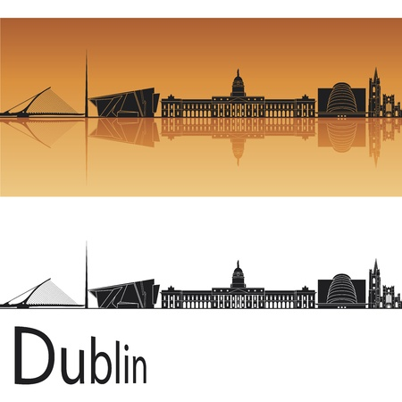 Dublin skyline in orange background in editable vector file