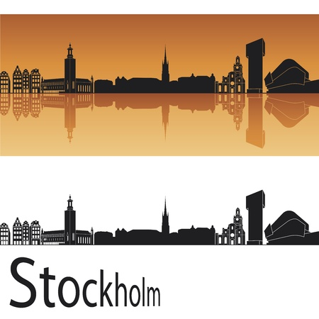 Stockholm skyline in orange background in editable vector file