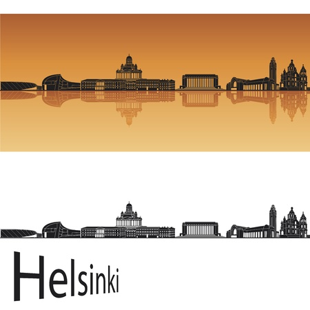 finland: Helsinki skyline in orange background in editable