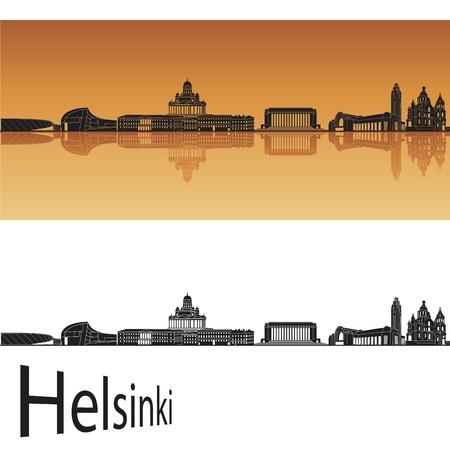 helsinki: Helsinki skyline in orange background in editable