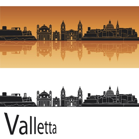 malta: Valletta skyline in orange background in editable vector file