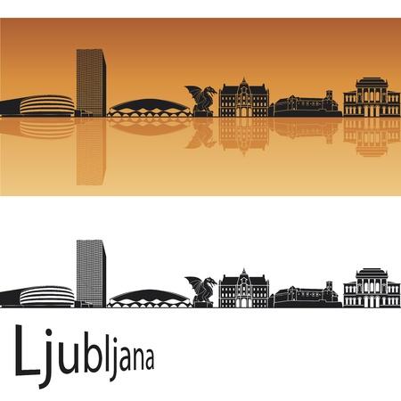 slovenia: Ljubljana skyline in orange background in editable vector file