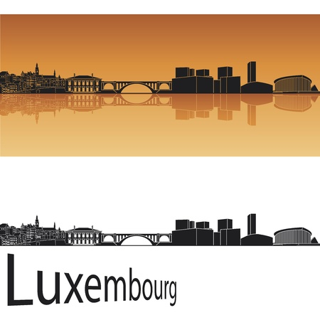 Luxembourg skyline in orange background in editable vector file