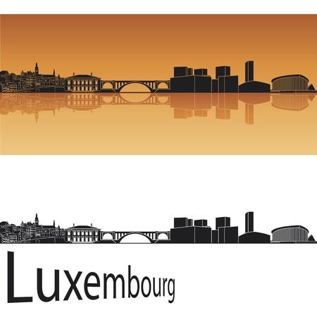 Luxemburg skyline in oranje achtergrond in bewerkbare vector-bestand