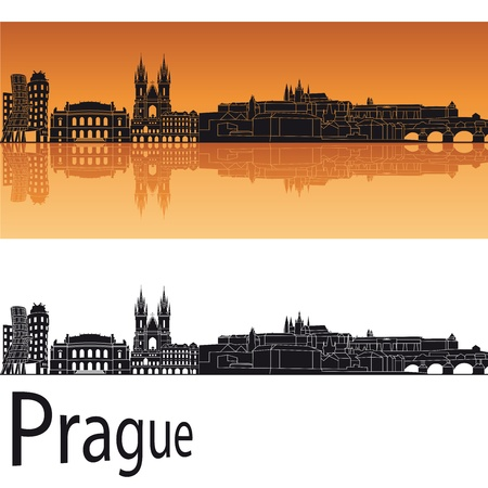 Prague skyline in orange background in editable vector file