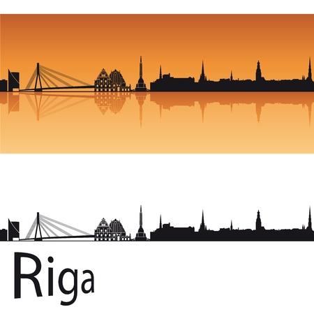 Riga skyline in orange background in editable  Illustration
