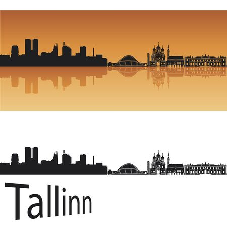 Tallinn skyline in orange background in editable  Vector